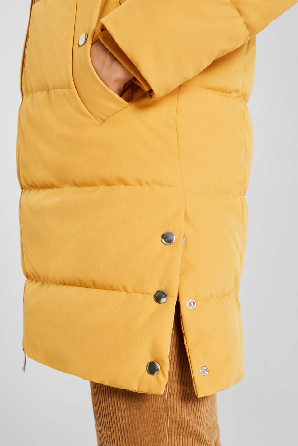 Quilted coat with hood, AMBER YELLOW, detail image number 2