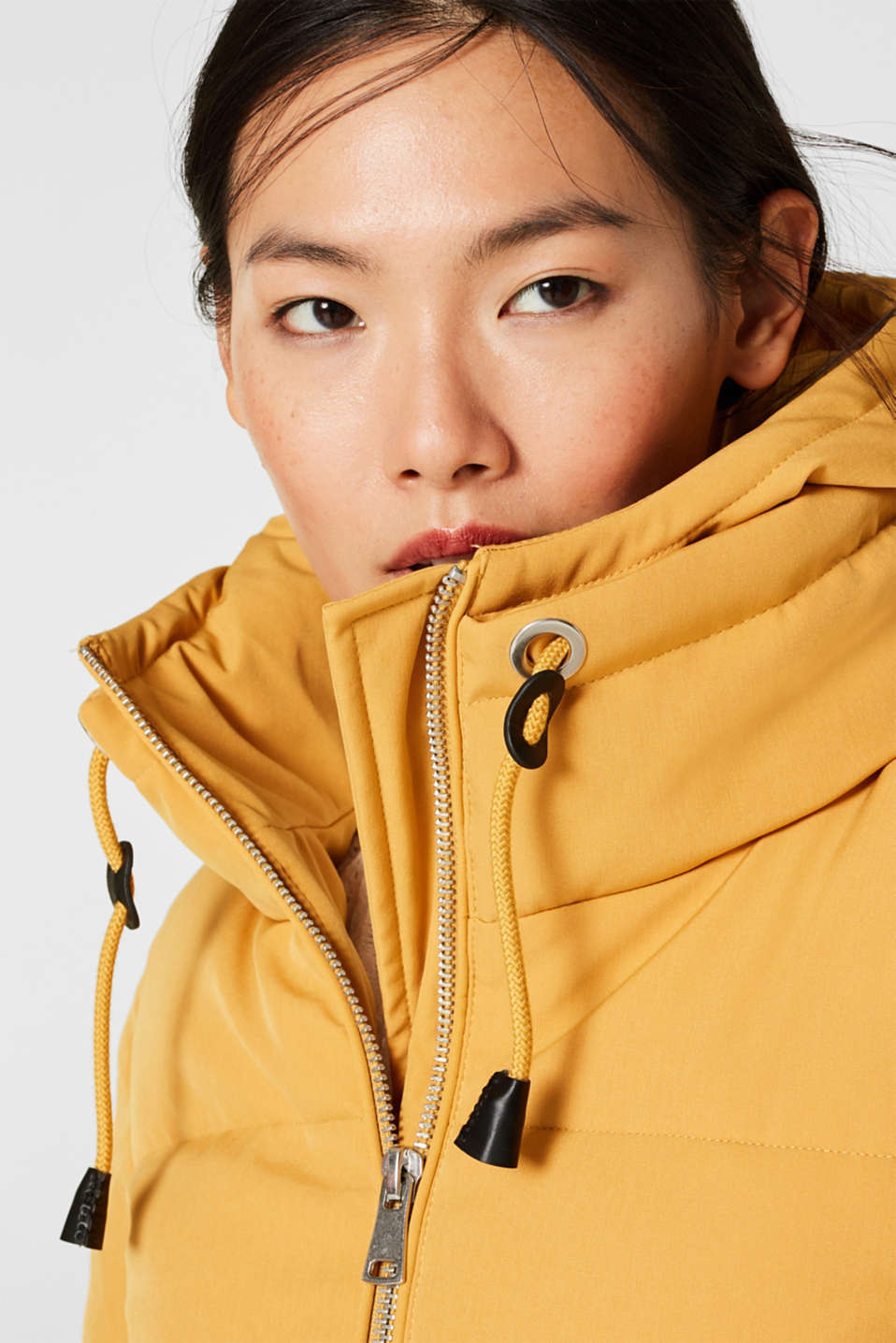 Quilted coat with hood, AMBER YELLOW, detail image number 7