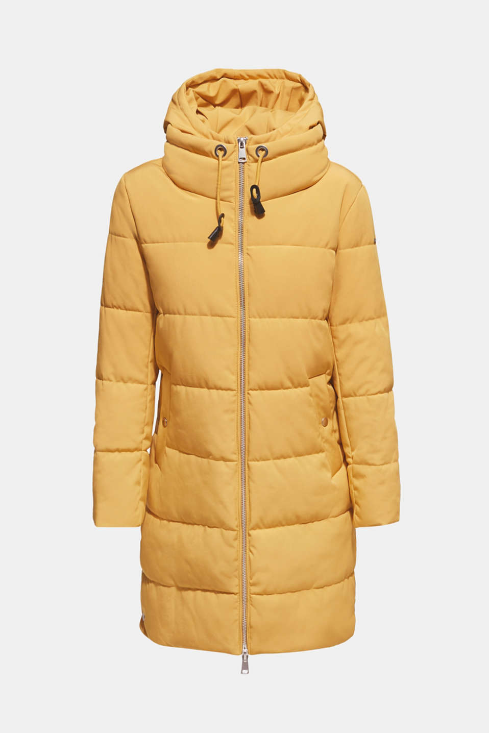 Quilted coat with hood, AMBER YELLOW, detail image number 9
