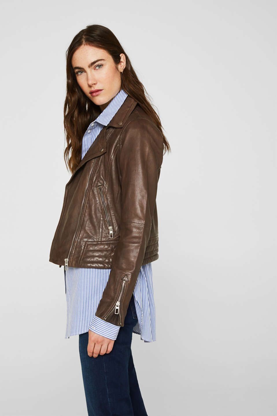 Jackets outdoor leather, TAUPE, detail image number 5