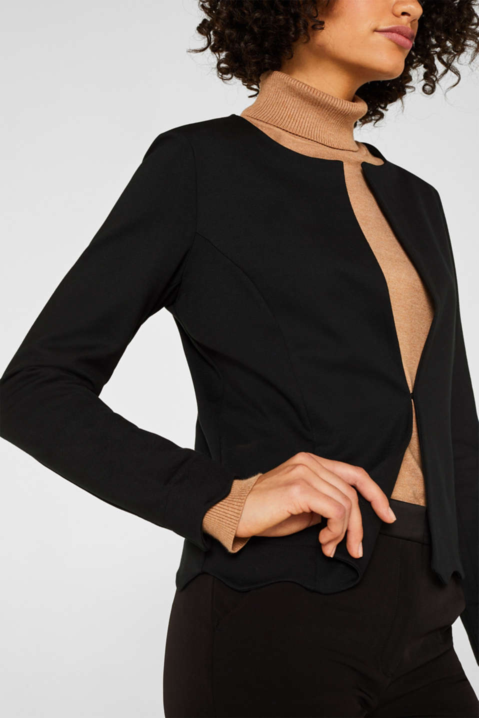 Blazer made of stretch jersey, BLACK, detail image number 2
