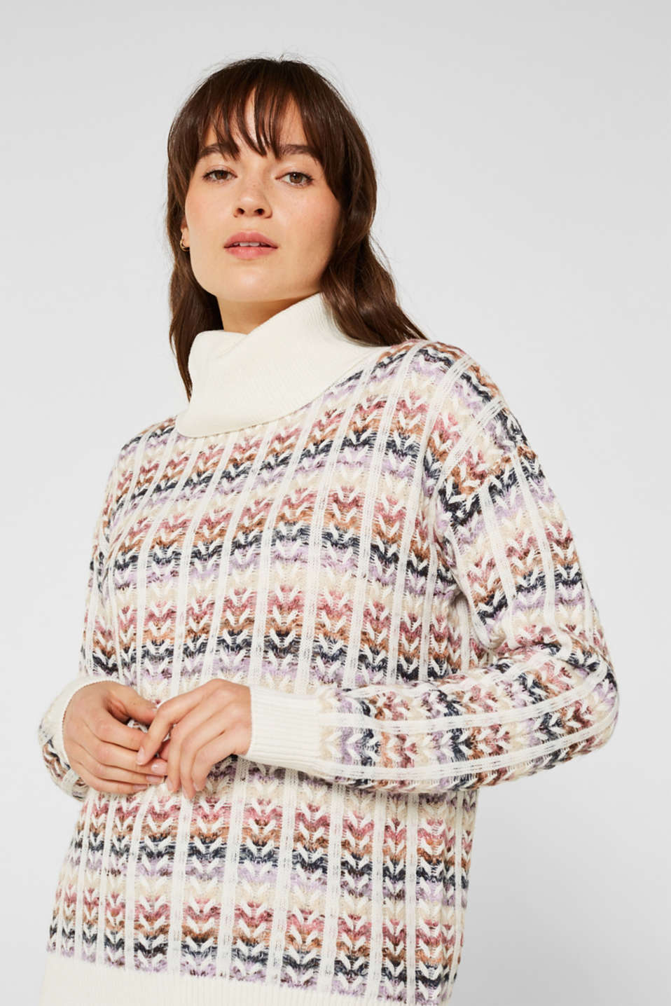 Esprit - Wool blend: jumper with multicoloured cable stitches