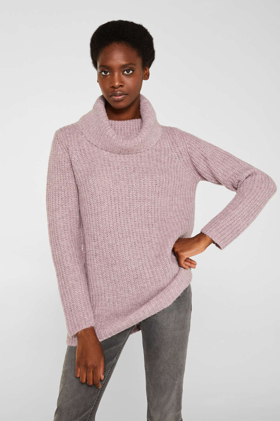 Esprit - Wool blend: glittering polo neck jumper