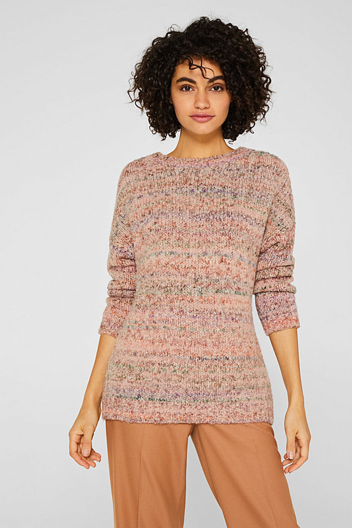 Mit Wolle: melierter Pullover, MAUVE, detail image number 0