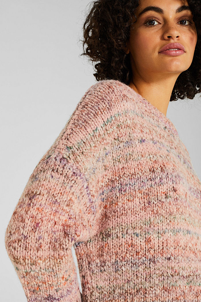 Mit Wolle: melierter Pullover, MAUVE, detail image number 2