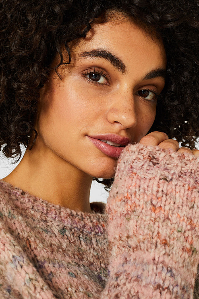 Mit Wolle: melierter Pullover, MAUVE, detail image number 5