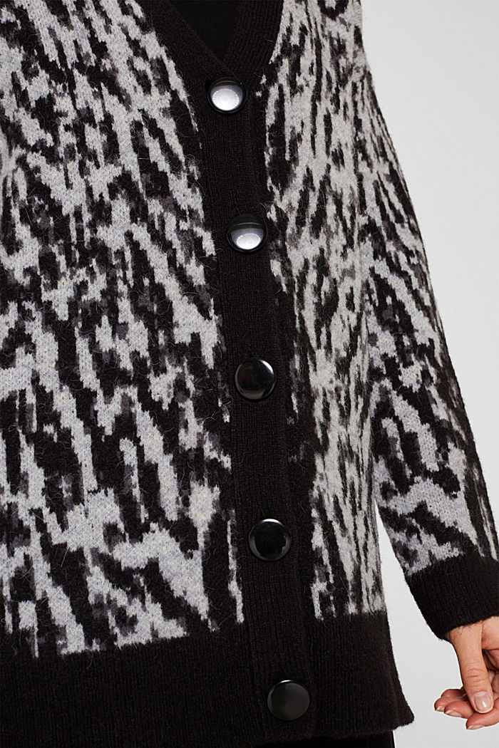With wool/alpaca: jacquard cardigan, OFF WHITE, detail image number 2