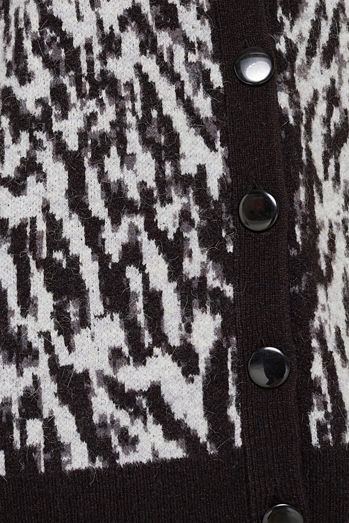 With wool/alpaca: jacquard cardigan, OFF WHITE, detail image number 4