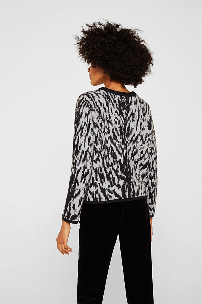 With wool/alpaca: Tiger jacquard jumper, OFF WHITE, detail image number 3