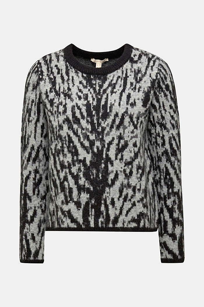 With wool/alpaca: Tiger jacquard jumper, OFF WHITE, detail image number 5
