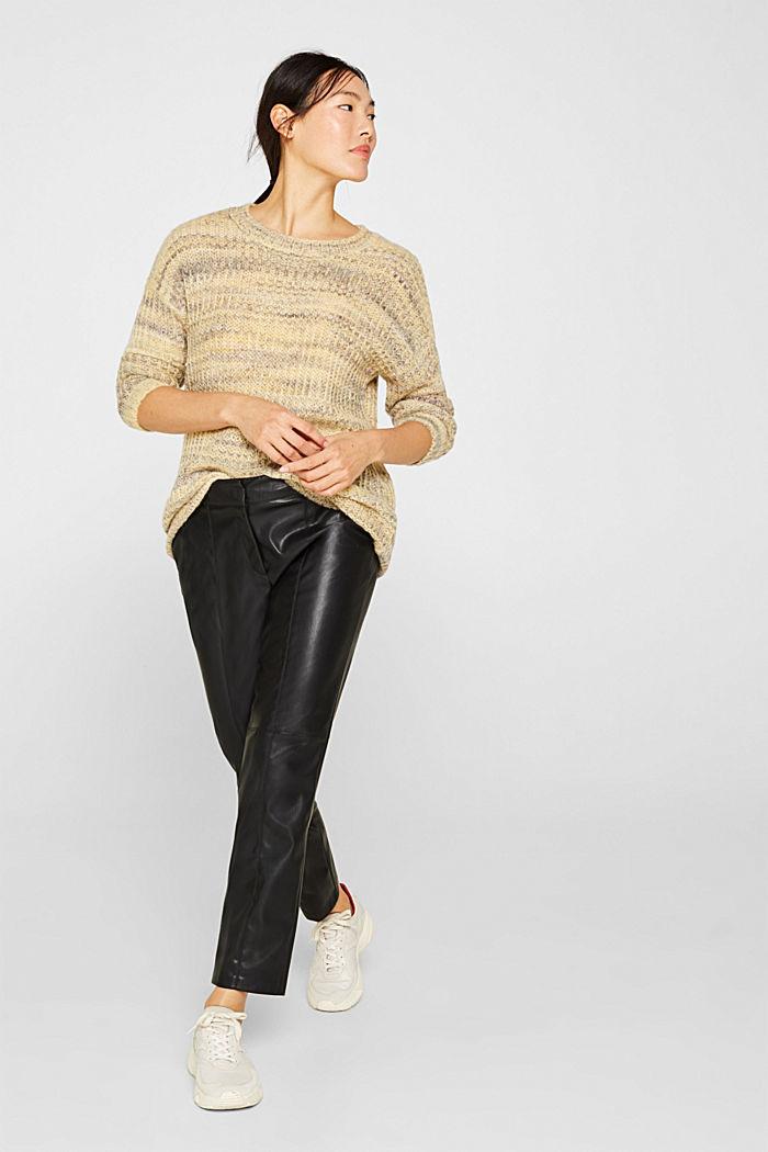 Melange jumper with wool/alpaca, DUSTY YELLOW, detail image number 1