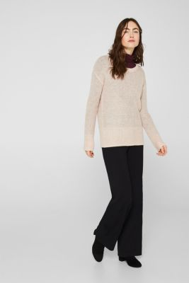With wool/alpaca: Basic style jumper, PASTEL PINK, detail