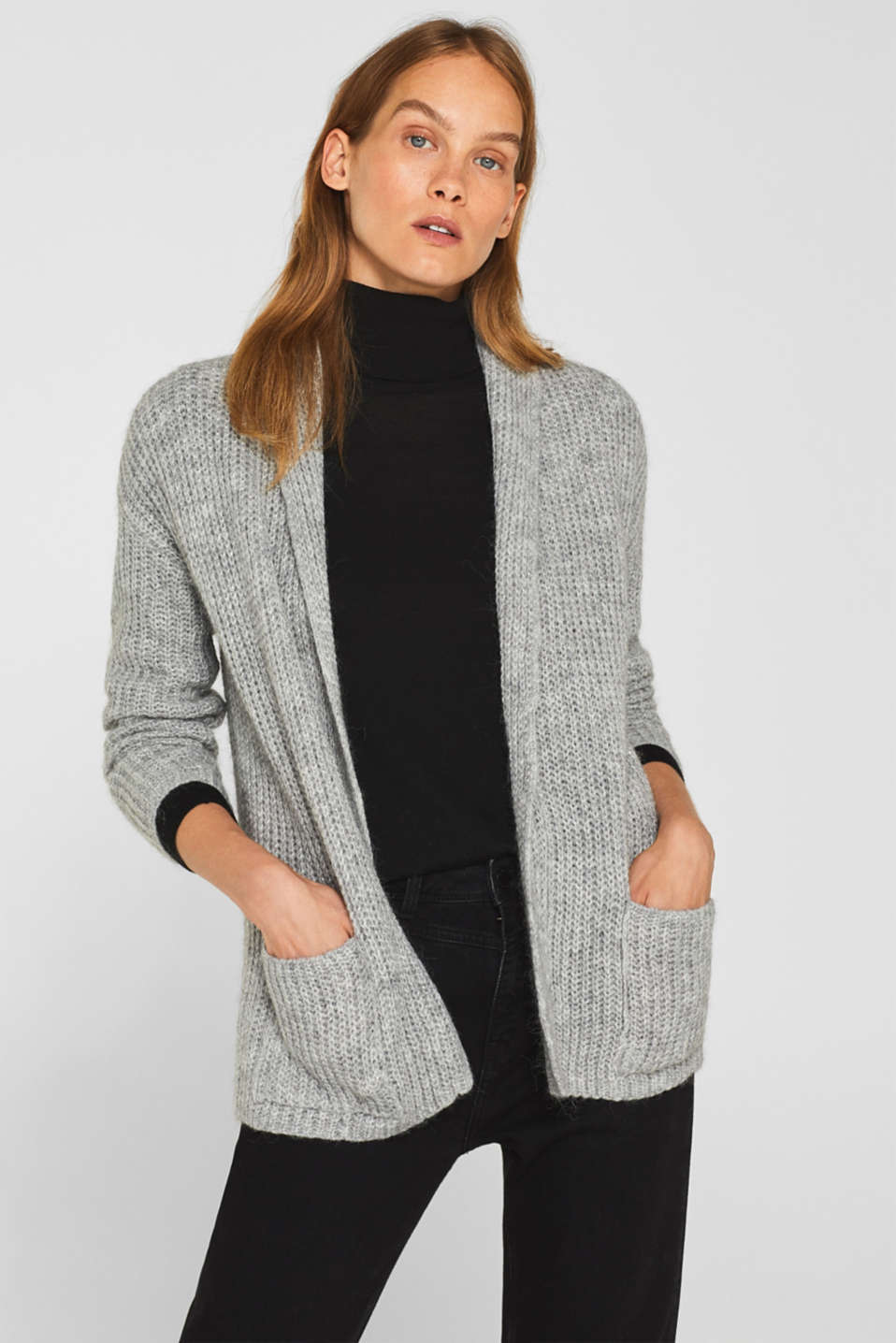 Esprit - With wool: Glittery cardigan with a shawl collar