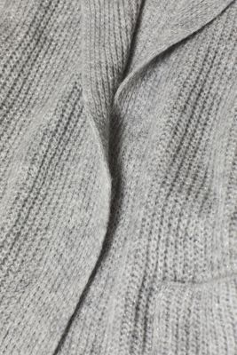 With wool: Glittery cardigan with a shawl collar, LIGHT GREY 2, detail