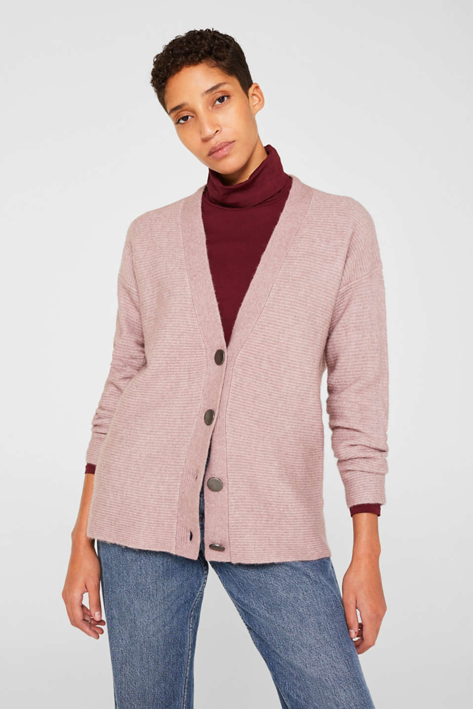 Esprit - With wool: Ribbed cardigan