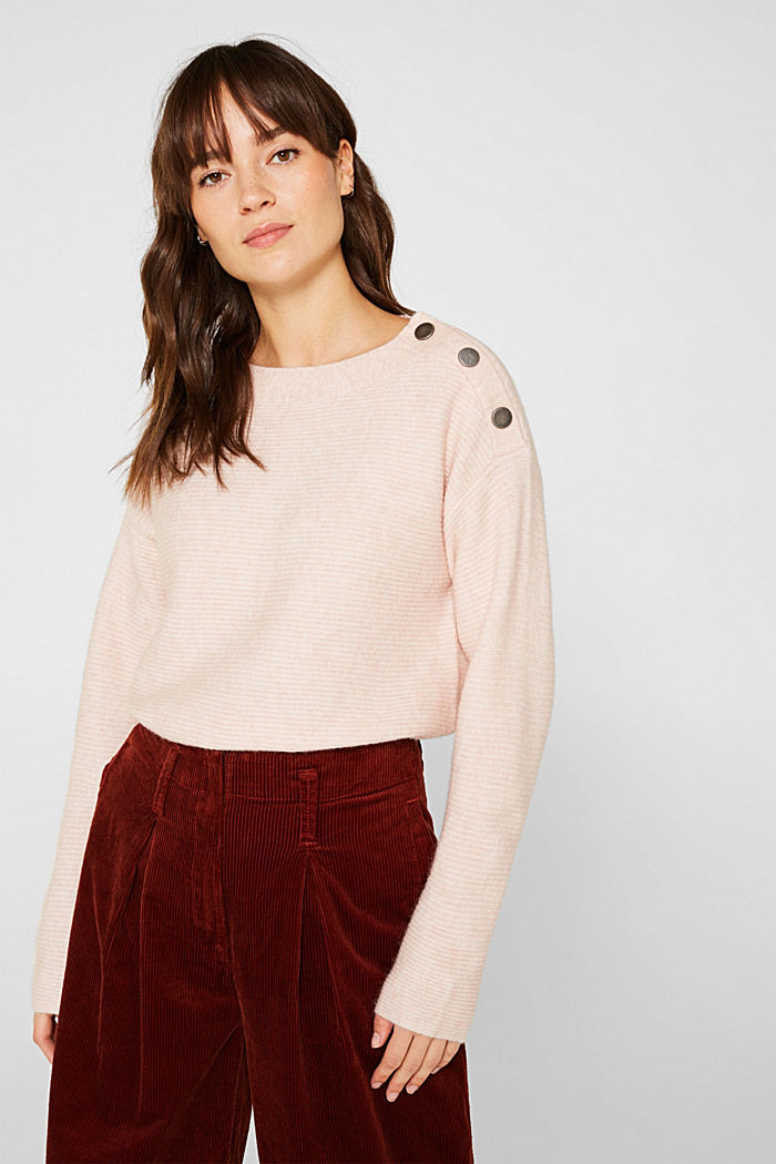 Wool blend: jumper with a decorative button placket, PASTEL PINK, detail image number 0