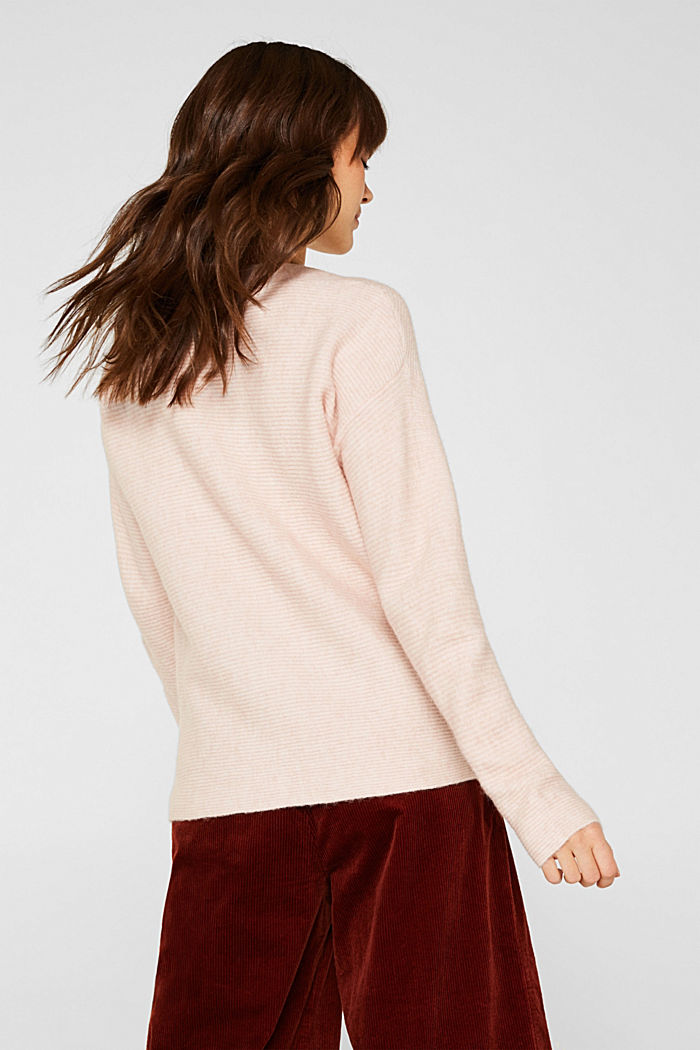 Wool blend: jumper with a decorative button placket, PASTEL PINK, detail image number 3