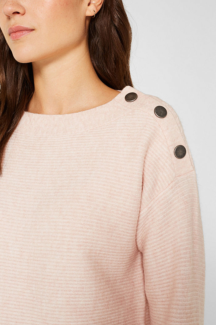 Wool blend: jumper with a decorative button placket, PASTEL PINK, detail image number 2