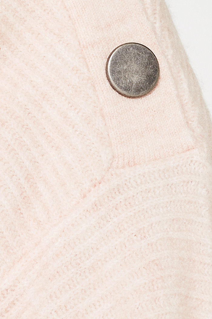 Wool blend: jumper with a decorative button placket, PASTEL PINK, detail image number 4