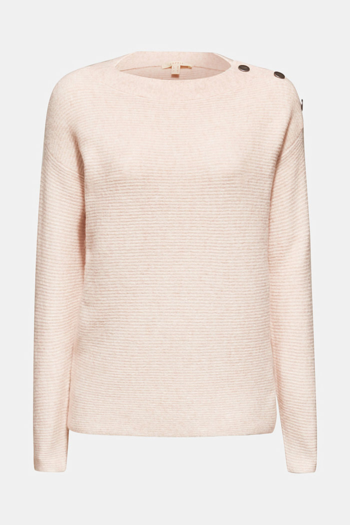 Wool blend: jumper with a decorative button placket, PASTEL PINK, detail image number 5