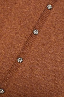 Wool blend: jumper with rhinestone buttons