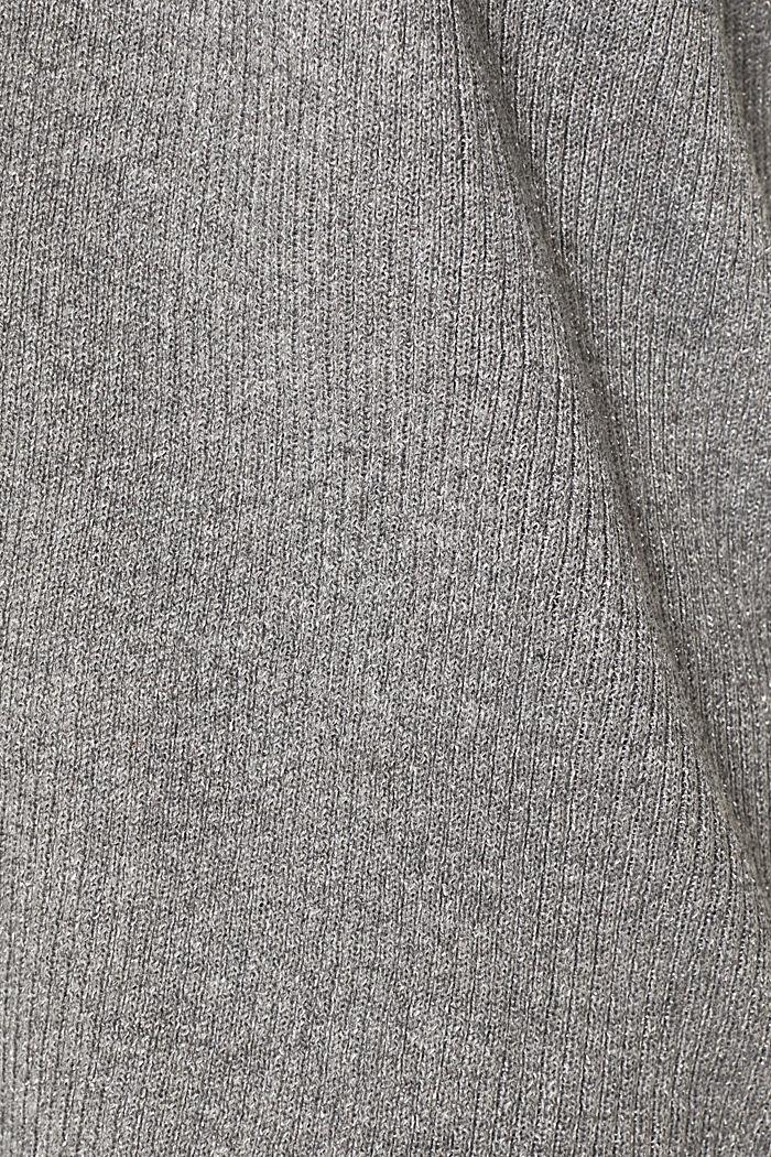 Glittering ribbed cardigan, GUNMETAL, detail image number 4