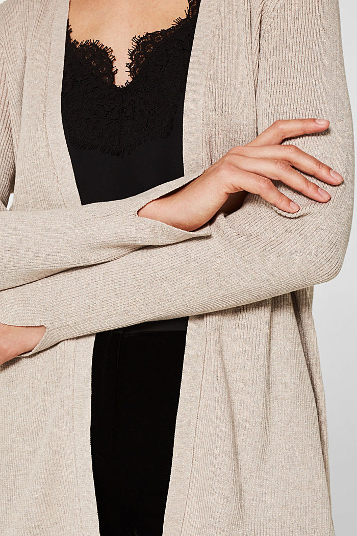 Glittering ribbed cardigan, DUSTY NUDE, detail image number 2