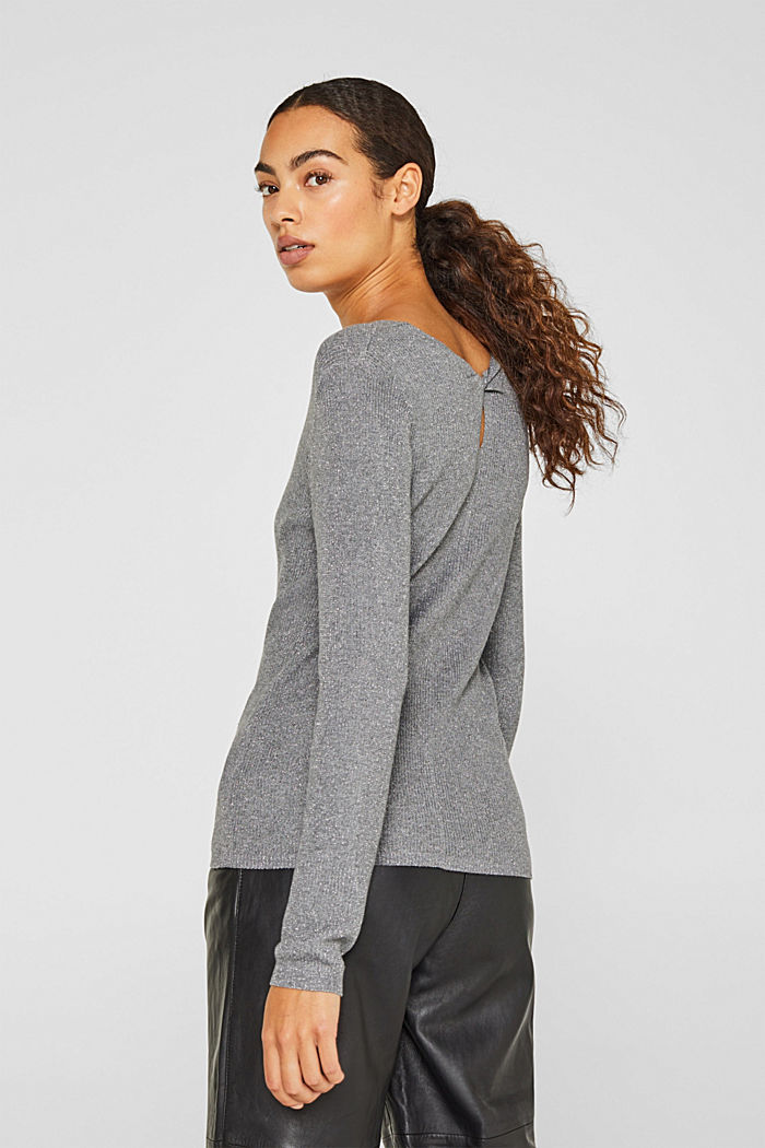 Glittering jumper with draped detail, GUNMETAL, detail image number 3