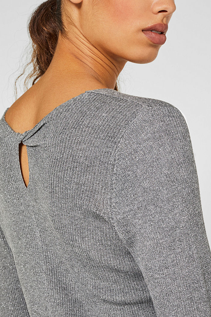 Glittering jumper with draped detail, GUNMETAL, detail image number 2