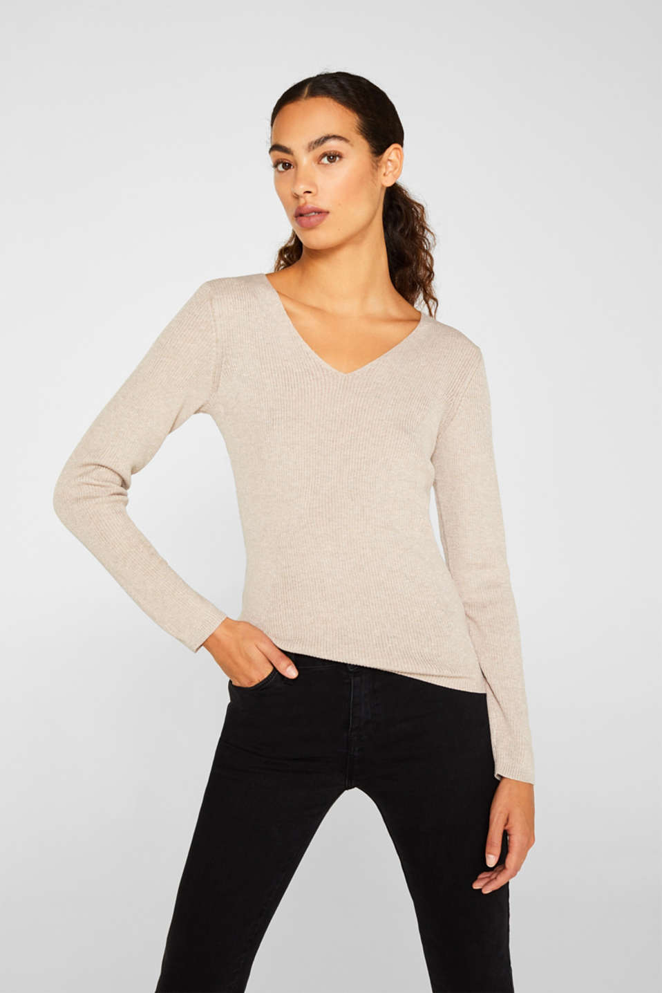 Esprit - Glittering jumper with draped detail