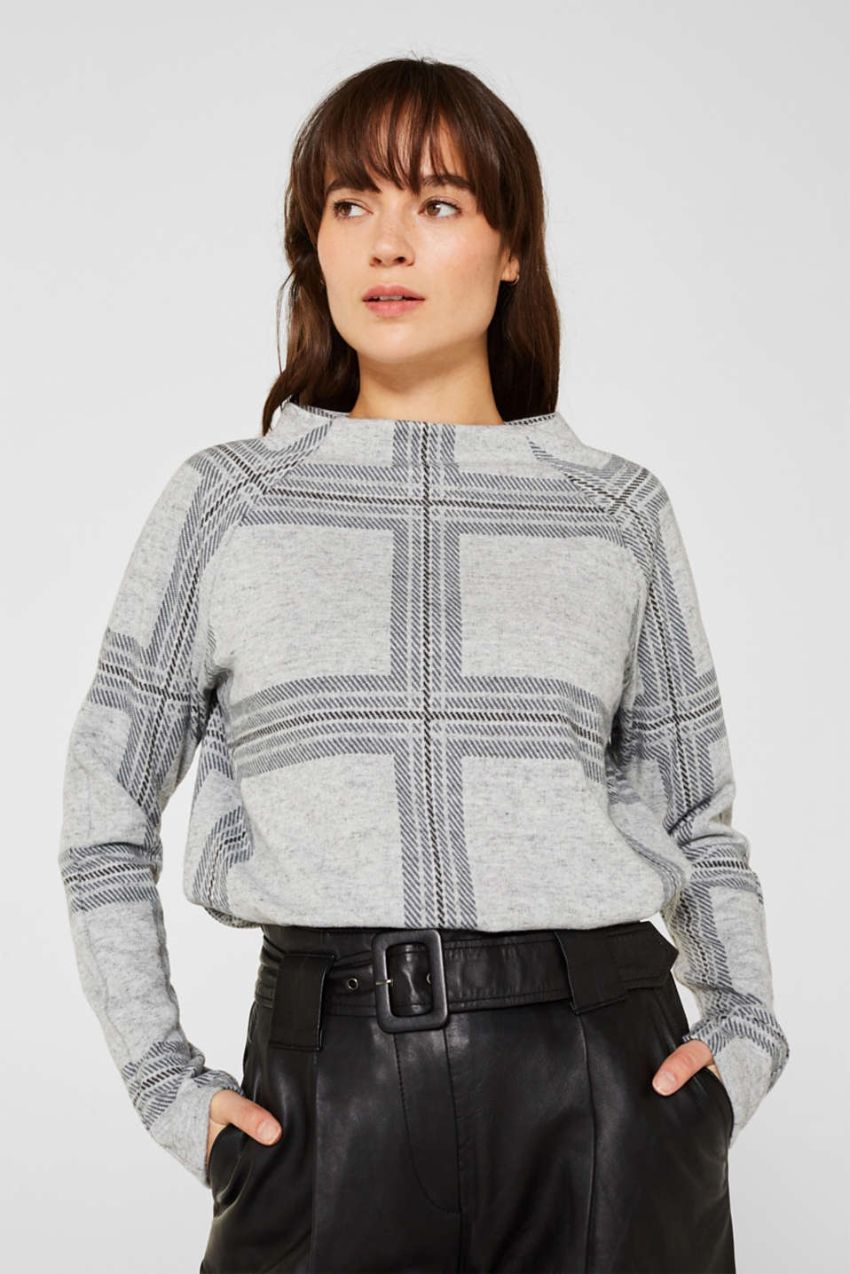 Esprit - Soft long sleeve top with a stand-up collar