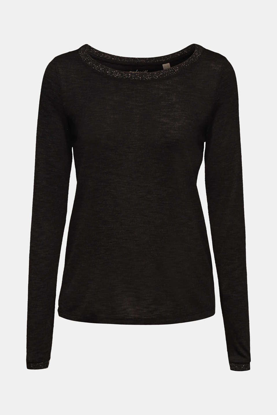 Slub long sleeve top in a glitter look, BLACK, detail image number 6