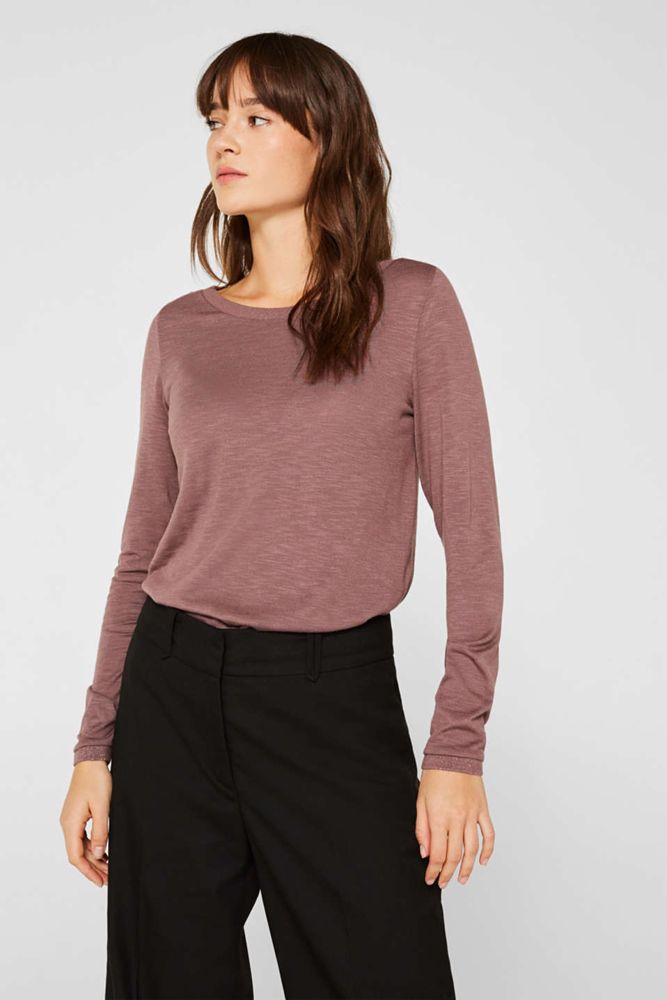 Esprit - Slub long sleeve top in a glitter look