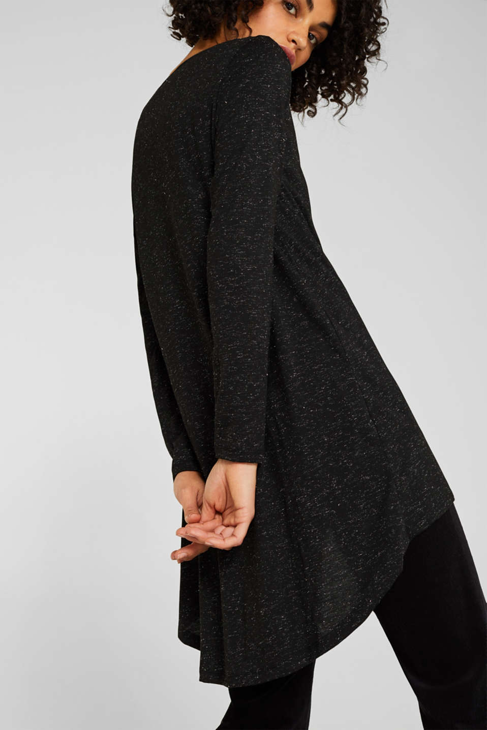 Long T-shirt in a glitter look, BLACK, detail image number 2