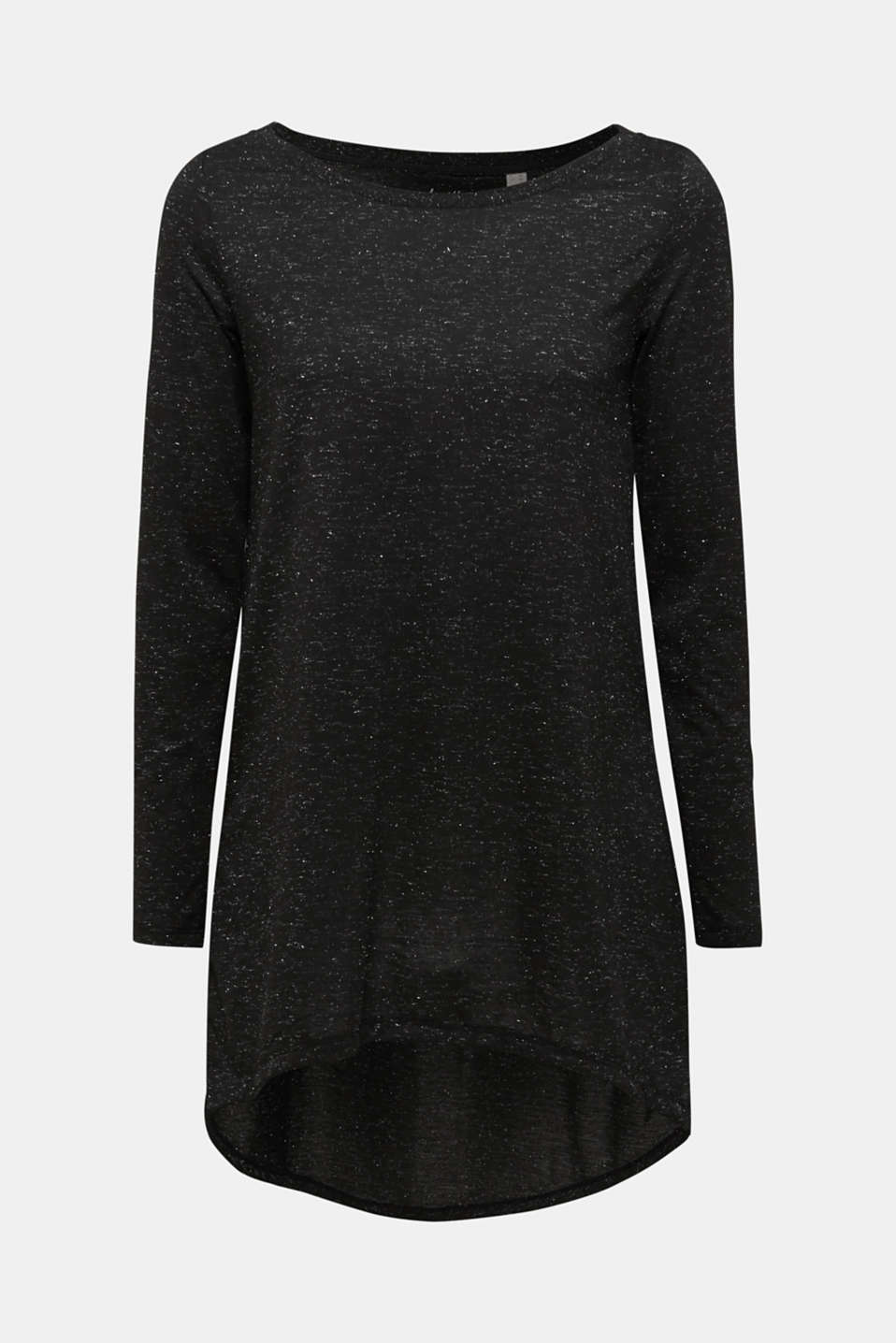 Long T-shirt in a glitter look, BLACK, detail image number 5