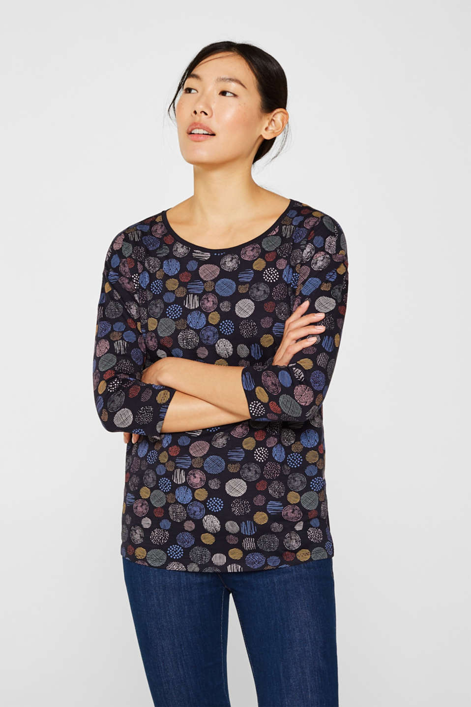Slub jersey top with a print, 100% cotton