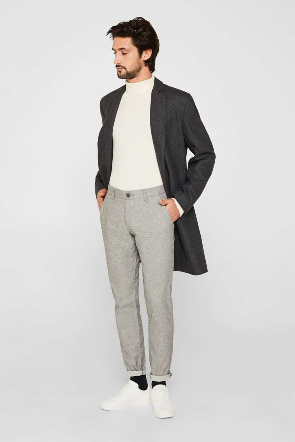 Esprit - Stretch trousers made of melange woven fabric