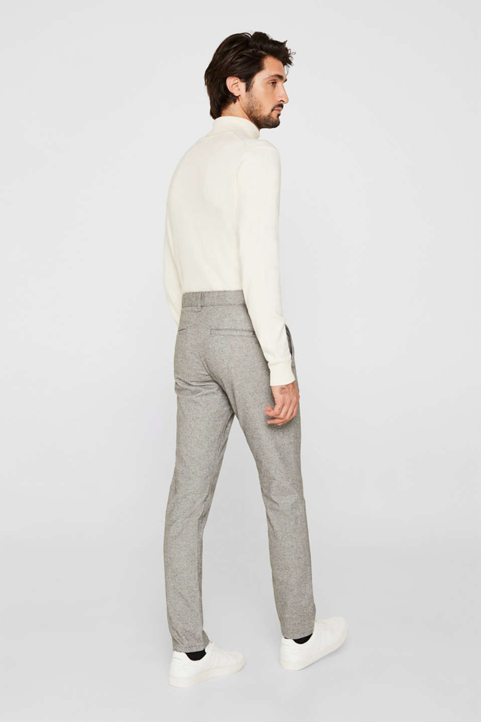 Stretch trousers made of melange woven fabric, GREY, detail image number 3