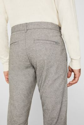 Stretch trousers made of melange woven fabric, GREY, detail