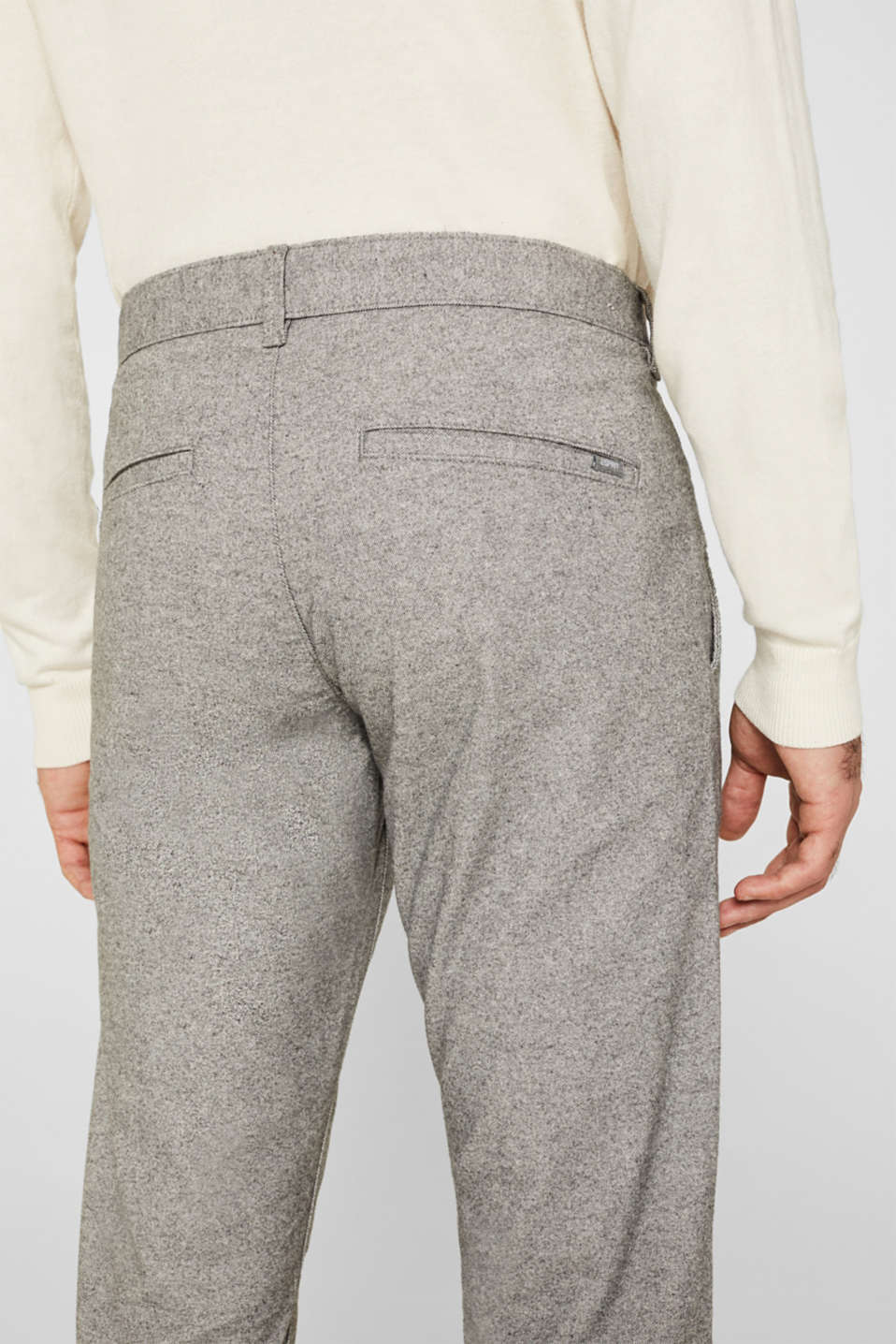 Stretch trousers made of melange woven fabric, GREY, detail image number 4