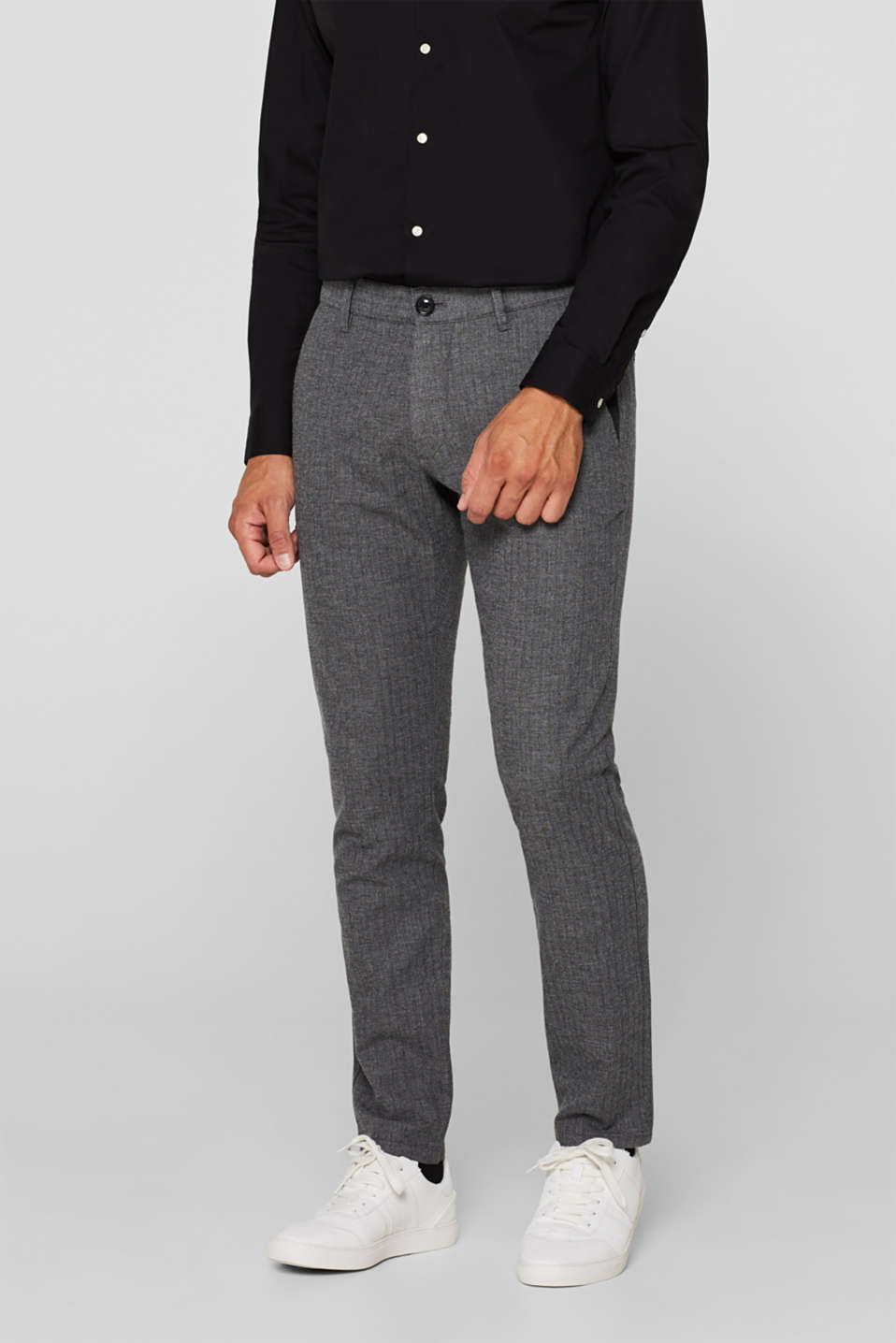 Stretch trousers with a herringbone texture, GREY, detail image number 0