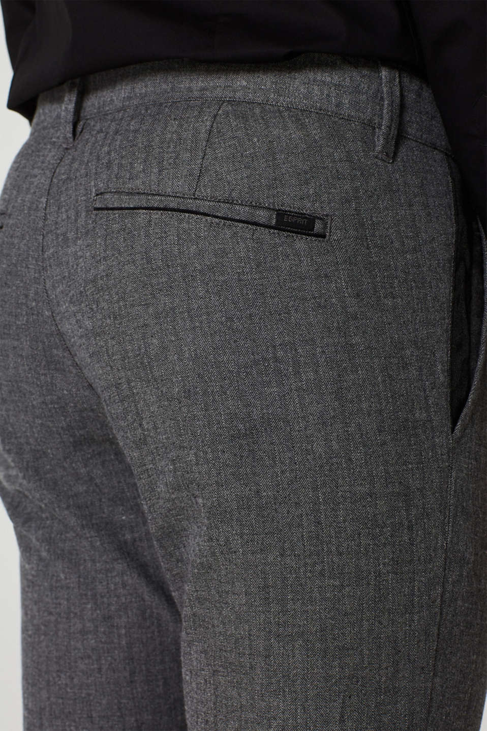 Stretch trousers with a herringbone texture, GREY, detail image number 2