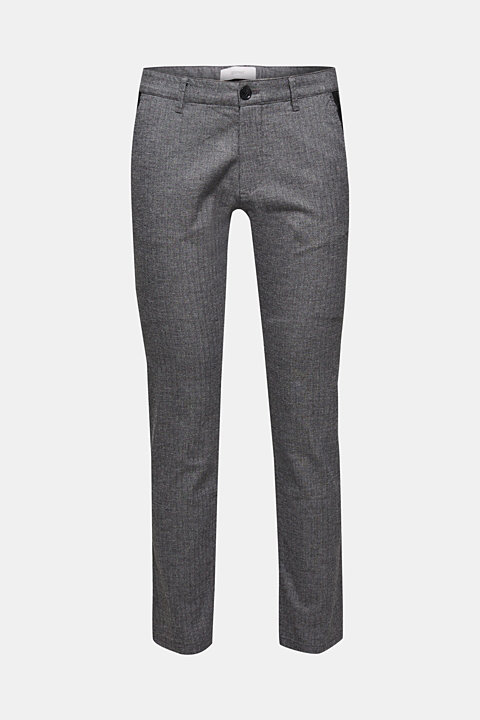 Stretch trousers with a herringbone texture