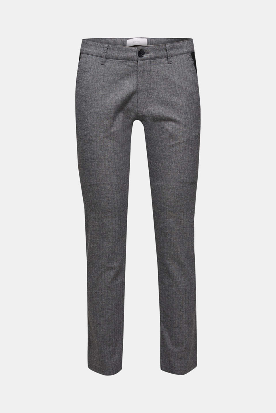 Stretch trousers with a herringbone texture, GREY, detail image number 6