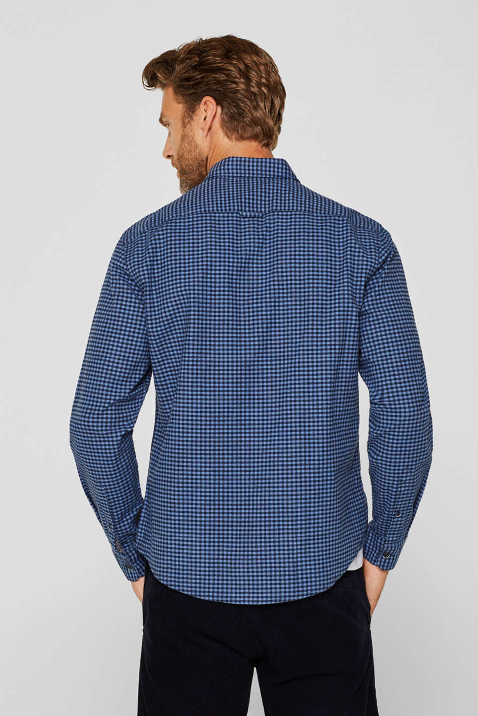 Gingham check shirt, NAVY 2, detail image number 3