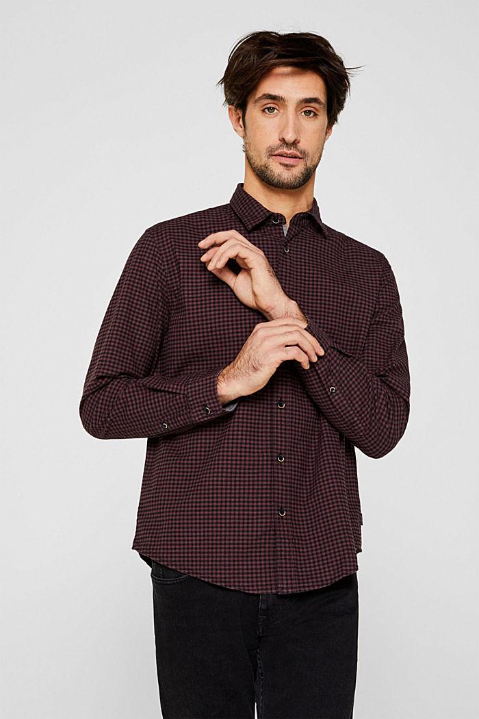 Gingham check shirt, GARNET RED, detail image number 0