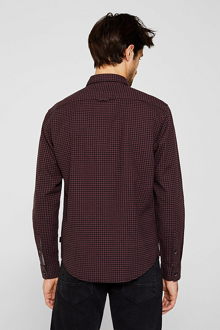 Gingham check shirt, GARNET RED, detail image number 3