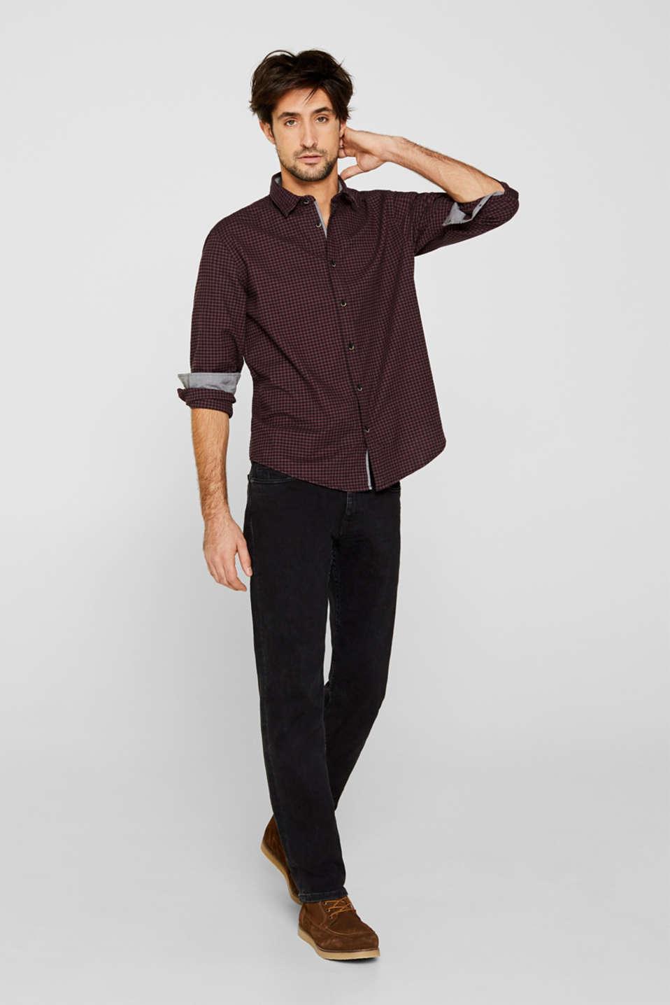 Gingham check shirt, GARNET RED, detail image number 5