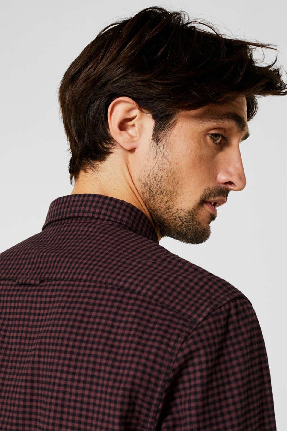 Gingham check shirt, GARNET RED, detail image number 2