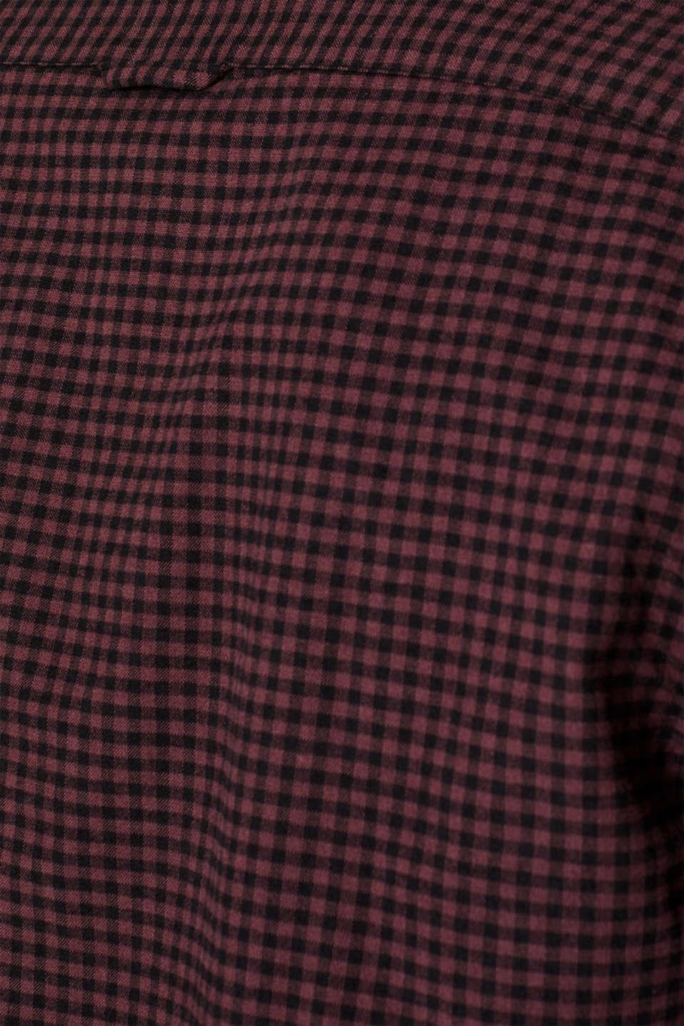 Gingham check shirt, GARNET RED, detail image number 4